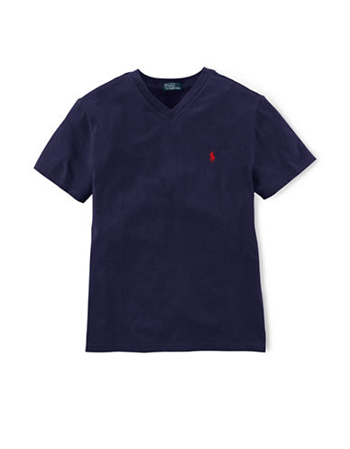 Ralph Lauren Childrenswear Signature V-Neck T-Shirt-NAVY-Small
