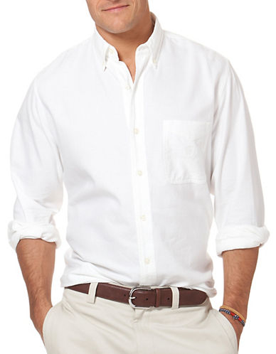Chaps Oxford Sport Shirt-WHITE-Small