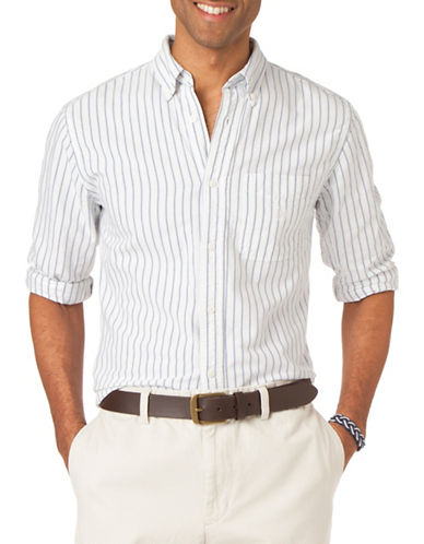 Chaps Striped Oxford Shirt-WHITE-Small