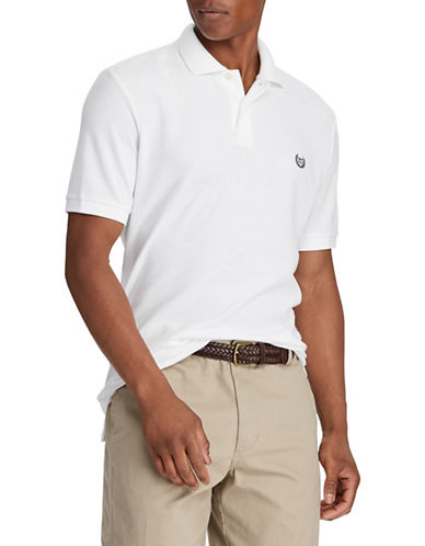 Chaps Cotton Mesh Polo Shirt-WHITE-Small