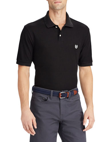 Chaps Cotton Mesh Polo Shirt-BLACK-Medium