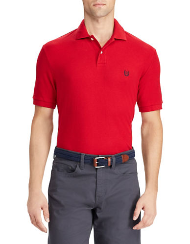 Chaps Cotton Mesh Polo Shirt-RED-Large
