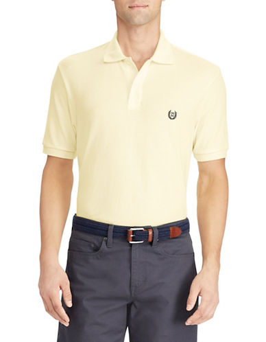 Chaps Cotton Mesh Polo Shirt-YELLOW-Small