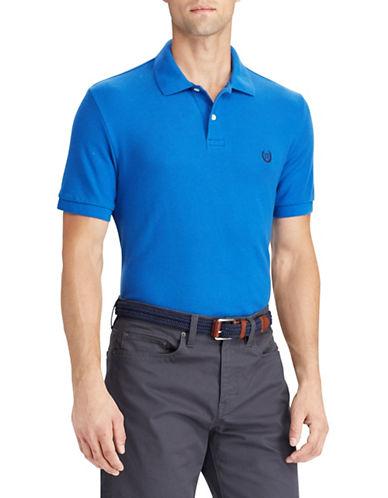 Chaps Cotton Mesh Polo Shirt-BLUE-Medium