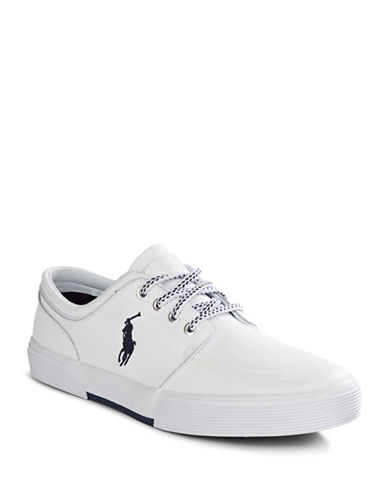 Polo Ralph Lauren Faxon Low Neck Leather Sneakers-WHITE-10.5