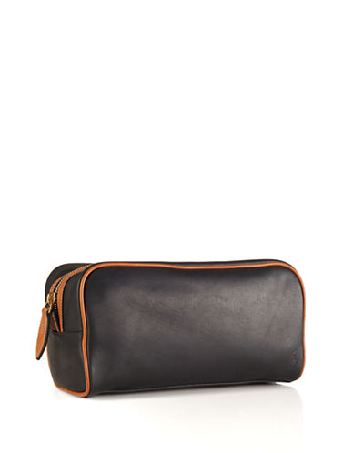 Polo Ralph Lauren Two-Toned Leather Shaving Bag-BLACK/COGNAC-One Size