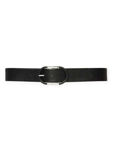 Lauren Ralph Lauren Centre-Bar Leather Belt-BLACK-X-Large