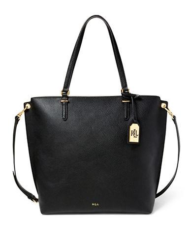 Lauren Ralph Lauren Abby Medium Faux-Leather Tote-BLACK-One Size