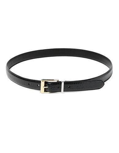 Lauren Ralph Lauren Reversible Croc-Embossed Belt-BLACK-Large
