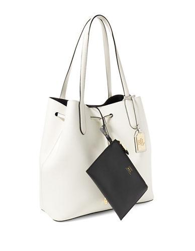 Lauren Ralph Lauren Two-Tone Dryden Diana Tote-VANILLA/BLACK-One Size 88922955_VANILLA/BLACK_One Size