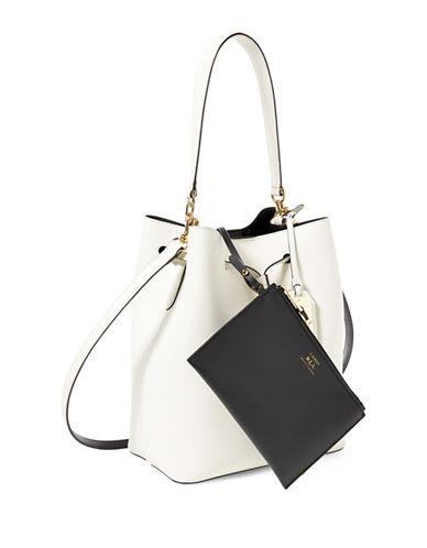 Lauren Ralph Lauren Medium Dryden Drawstring Bag-VANILLA/BLACK-One Size 88922947_VANILLA/BLACK_One Size