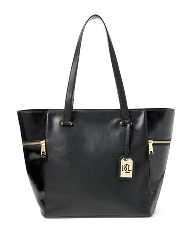 Lauren Ralph Lauren Leather Tote-BLACK-One Size 88800410_BLACK_One Size