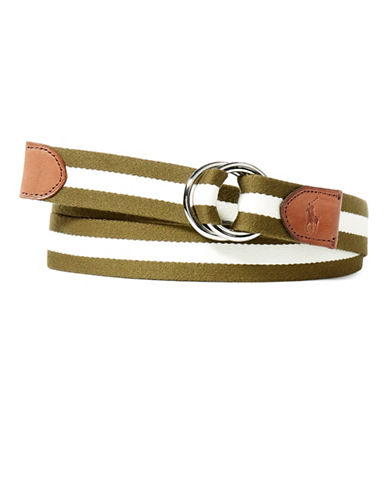 Polo Ralph Lauren Nautical Striped Belt-OLIVE/WHITE-Large
