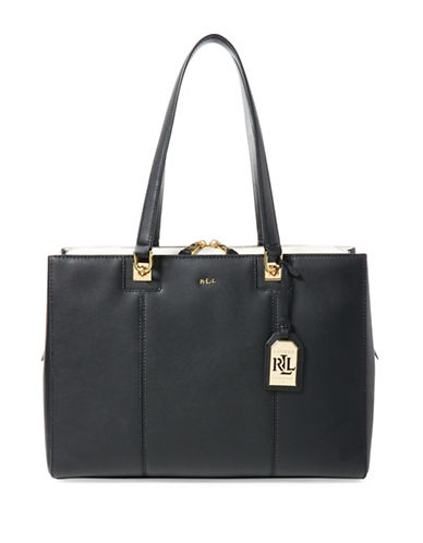 Lauren Ralph Lauren Leather Tote-BLACK-One Size 88809738_BLACK_One Size
