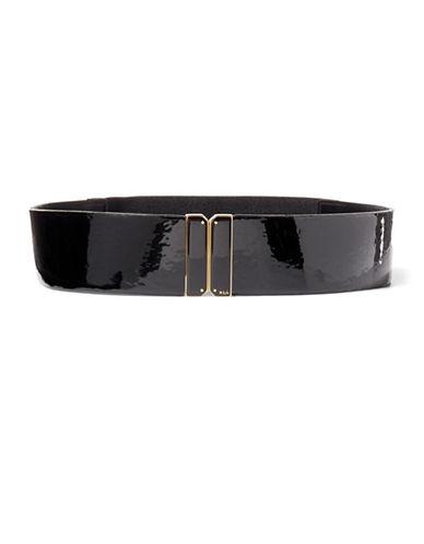 Lauren Ralph Lauren Patent Stretch Belt-BLACK-X-Large 88590190_BLACK_X-Large