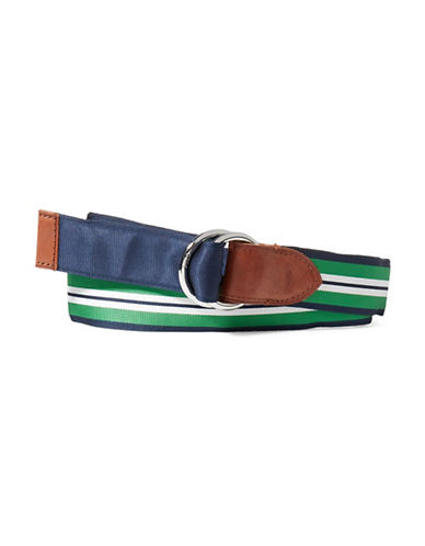 Polo Ralph Lauren Reversible Grosgrain Belt-NAVY/GREEN-Small