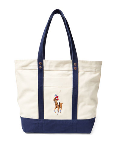 Polo Ralph Lauren Big Pony Canvas Tote-NATURAL-One Size