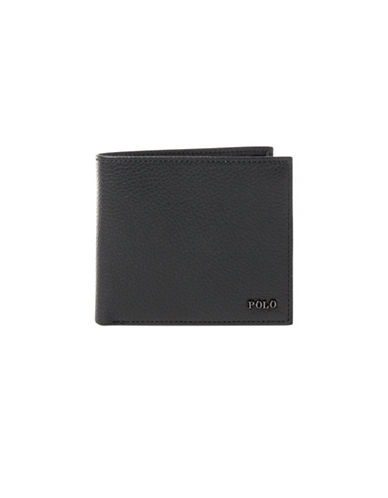 Polo Ralph Lauren Metal-Plaque Leather Billfold-BLACK-One Size
