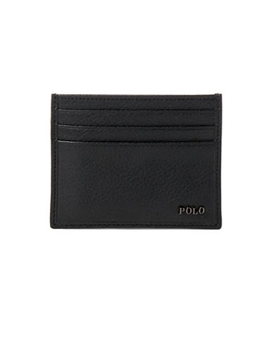 Polo Ralph Lauren Leather Card Case-BLACK-One Size