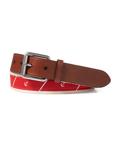 Polo Ralph Lauren Anchor Tie Silk Belt-RED-34