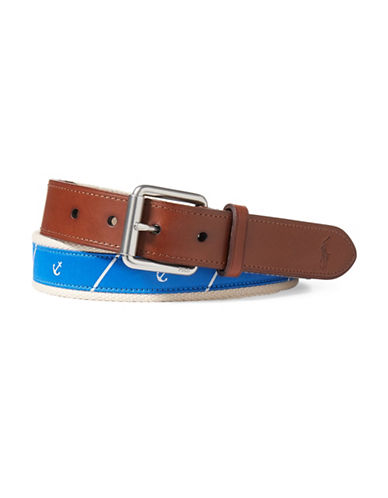 Polo Ralph Lauren Anchor Tie Silk Belt-BLUE/RED-40