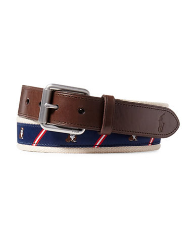 Polo Ralph Lauren Bulldog-Overlay Webbed Belt-NAVY/RED-38