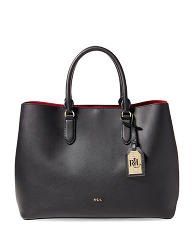 Lauren Ralph Lauren Medium Dryden Leather Tote-BLACK-One Size