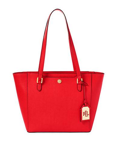 Lauren Ralph Lauren Saffiano Leather Shopper Bag-RED-One Size