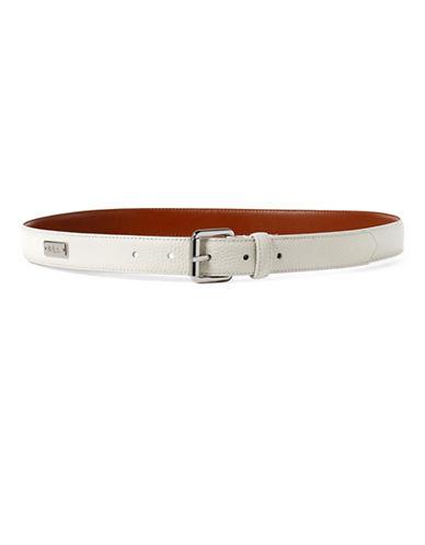 Lauren Ralph Lauren Pebbled Leather Belt-EGGSHELL-Large
