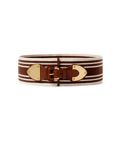 Lauren Ralph Lauren Striped Wide Stretch Belt-BROWN-Medium 88900530_BROWN_Medium