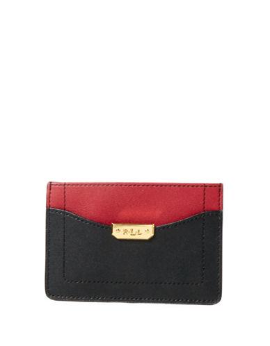Lauren Ralph Lauren Dryden Leather Mini Card Case-BLACK-One Size