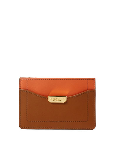 Lauren Ralph Lauren Dryden Leather Mini Card Case-BROWN-One Size