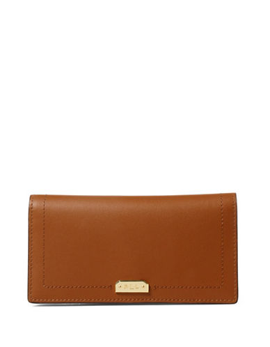 Lauren Ralph Lauren Dryden Leather Slim Wallet-BROWN-One Size