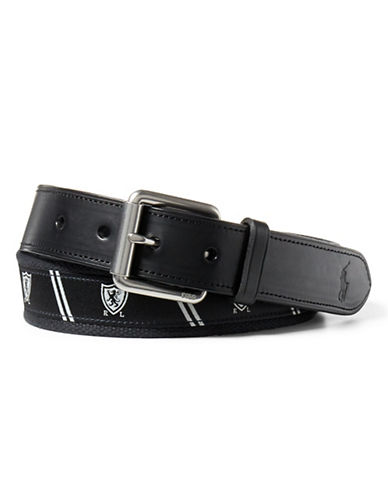 Polo Ralph Lauren Shield-Overlay Webbed Belt-BLACK-34