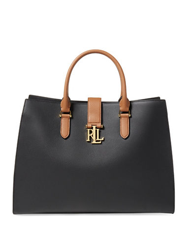 Lauren Ralph Lauren Pebbled Leather Tote-BLACK-One Size
