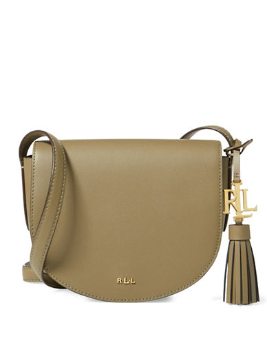 Lauren Ralph Lauren Caley Leather Saddle Bag-SAGE-One Size