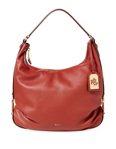 Lauren Ralph Lauren Leather Hobo-RED-One Size