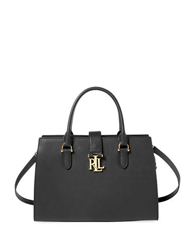 Lauren Ralph Lauren Leather Medium Satchel-BLACK-One Size