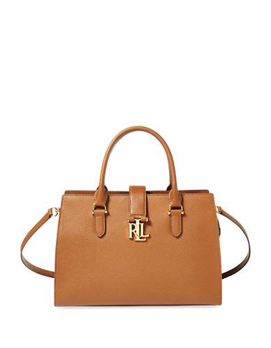Lauren Ralph Lauren Leather Medium Satchel-BROWN-One Size