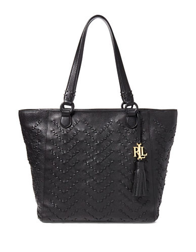 Lauren Ralph Lauren Stitched Leather Tote-BLACK-One Size
