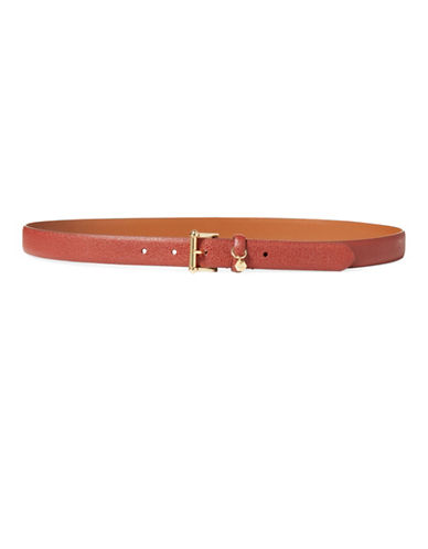 Lauren Ralph Lauren Stingray-Embossed Belt-RED-Medium