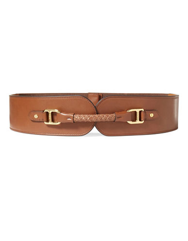 Lauren Ralph Lauren Wide Faux-Leather Stretch Belt-BEIGE-Large