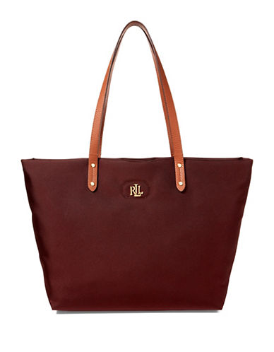 Lauren Ralph Lauren Bainbridge Textured Tote-RED-One Size