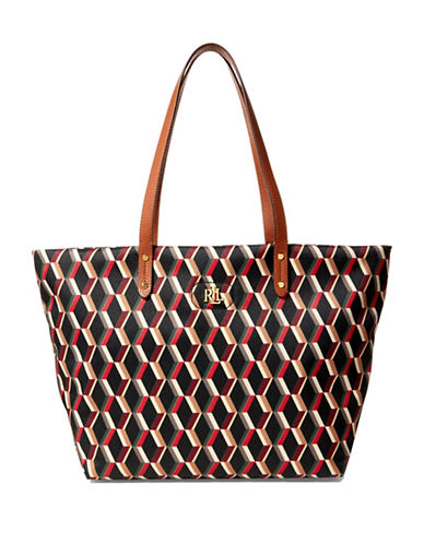Lauren Ralph Lauren Bainbridge Printed Tote-RED-One Size