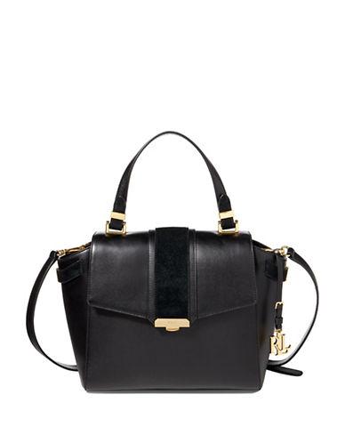 Lauren Ralph Lauren Madelyn Vachetta Leather Satchel-BLACK-One Size