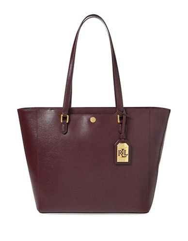 Lauren Ralph Lauren Saffiano Leather Tote-RED-One Size