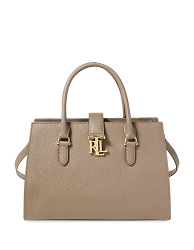 Lauren Ralph Lauren Brigitte II Pebbled Leather Satchel-GREY-One Size