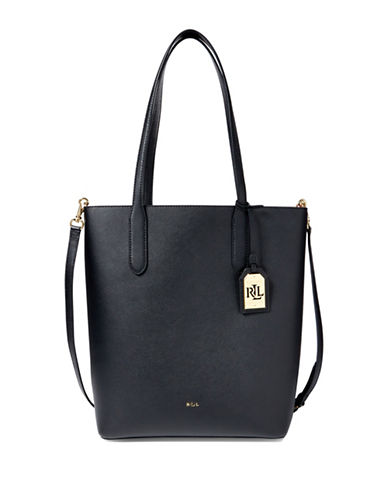 Lauren Ralph Lauren Alexis Leather Tote-BLACK-One Size
