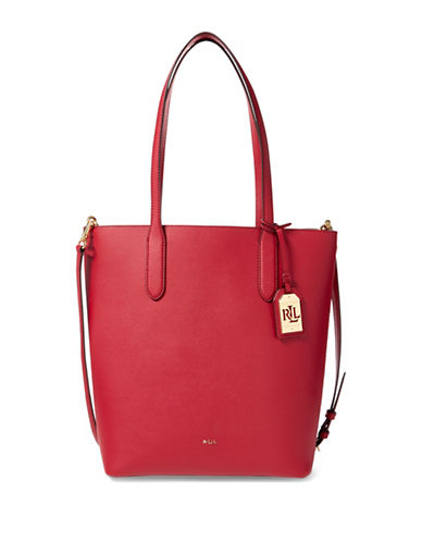 Lauren Ralph Lauren Top Zip Leather Tote-RED-One Size
