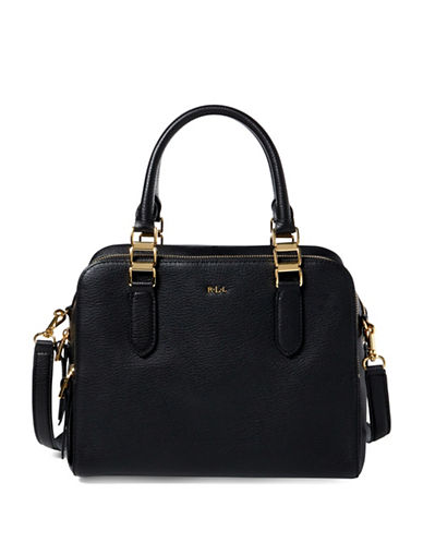 Lauren Ralph Lauren Callie Pebbled Leather Satchel-BLACK-One Size